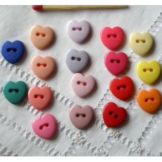 Boutons coeur brillants 12 mm
