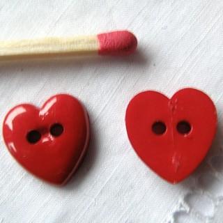 Boutons coeur vif brillant 12 mm
