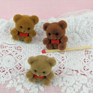 Nounours ourson miniature noeud pap 3 cm