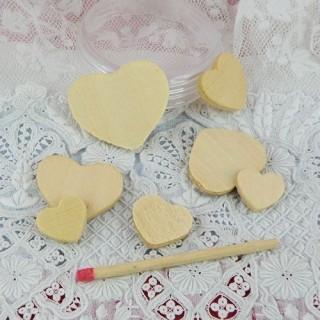 Minis Coeurs en bois brut 3 tailles