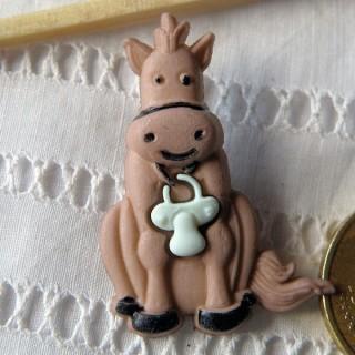 Bouton animaux ferme Bourriquet ANE avec tétine, doudou bébé.