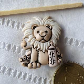 "Bouton animaux LION biberon  ""fun"""