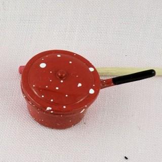 Casserole émaillée miniature maison poupée 2 cm diamètre.