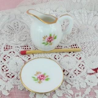 Broc et cuvette porcelaine miniature maison poupée 3 cm.