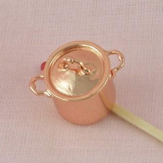 Marmite miniature 1/12 cuivre et couvercle hauteur 15 mm.