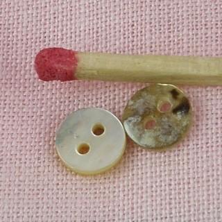 Petits Boutons nacre véritable habits poupée 2 trous 6 mm.