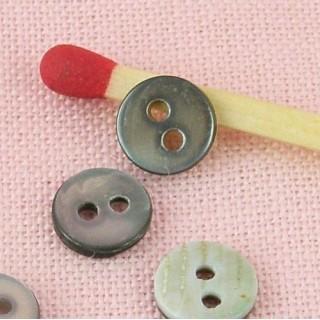 Petits Boutons nacre véritable habits poupée, 2 trous, 6 mm.