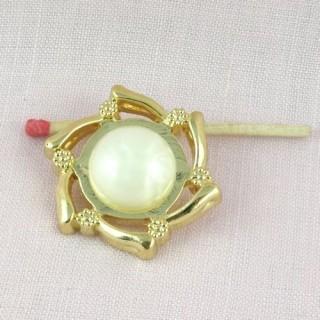 Bouton haute couture à pied perle et or 3 cm,
