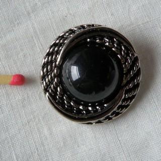 Gros Bouton haute couture noir & argent
