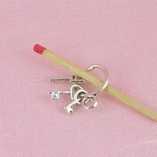 Breloque Trousseau 3 clefs miniature poupée