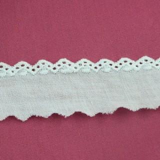 Dentelle broderie anglaise coton pointes 2 cm.