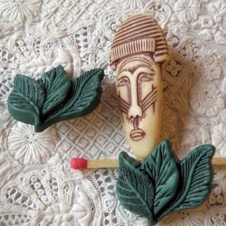 Lot 3 bouton jungle, Afrique,masque ethnique, totem.