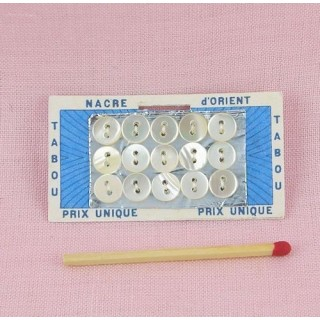 Carte minis boutons nacre 6 mm.