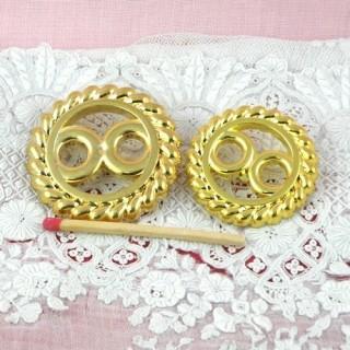 Bouton àpied doré motif haute couture, 2 tailles.