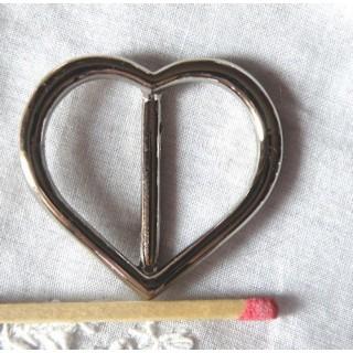 Boucle coeur métal à passant luxe, 3cm.