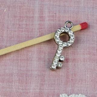 Clef miniature pendentif strass breloque clé