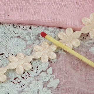 Ruban galon guirlande fleurs marguerites 15 mm,.