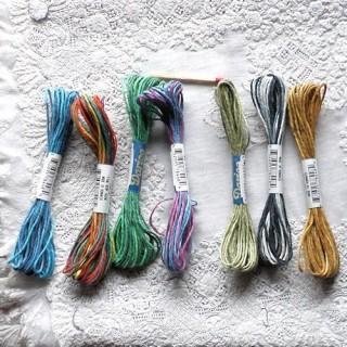 Echeveau fils couleur dégradée Cordon chanvre, lacet fil 1 mm.