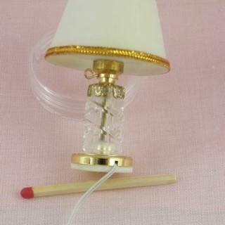 Lampe miniature cristal électrifiée 5 cm décoration miniature maison de poupée..