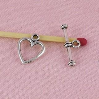 Fermoir coeur bijou ceinture poupée 1,4 cm