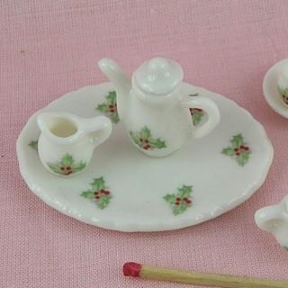 Service àcafé porcelaine miniature maison poupée 1/12 eme