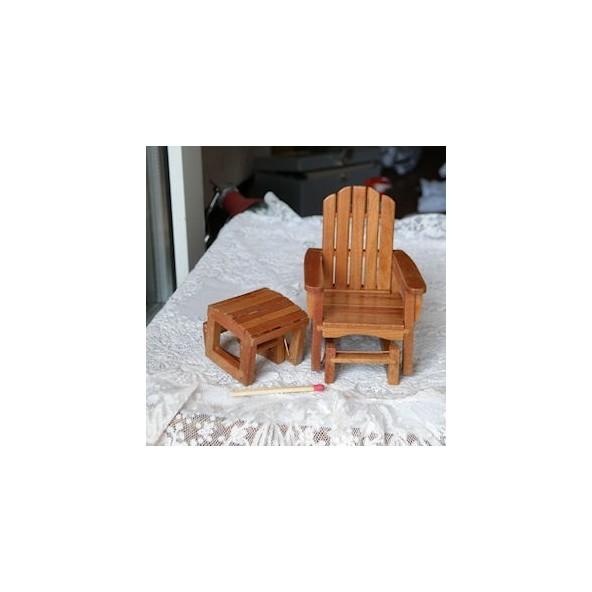 chaise longue transat miniature maison poup e fauteuil repose pieds. Black Bedroom Furniture Sets. Home Design Ideas