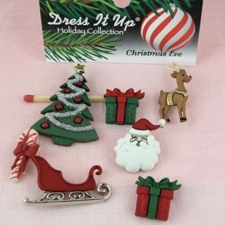 Boutons fantaisie Noël cadeaux traineau sapin