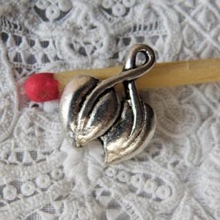 Breloque doubles feuilles cerisier miniatures,