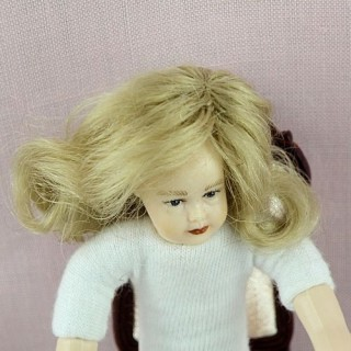 Perruque pour poupée miniature luxe poupée maison 1/12eme