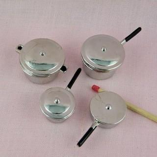 Lot d' ustensiles cuisine miniatures maison poupée métal
