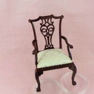 Fauteuil miniature acajou, meuble salon maison de poupée