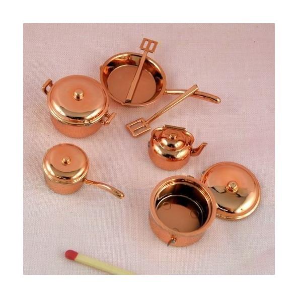 ustensiles cuisine miniatures maison poup e 6 ustensiles et 2 couve. Black Bedroom Furniture Sets. Home Design Ideas