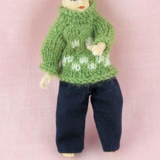 Pantalon et pull pour poupée habits miniatures poupée maison 1/12eme