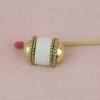 Bouton haute couture cylindre blanc & or àpied,