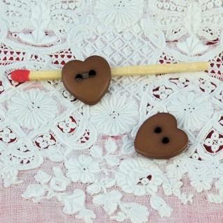 10 Boutons coeur mats 2 trous,  12 mm 1,2 cm.