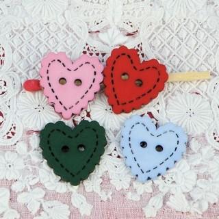 Bouton gros Coeur dentelé surpiqué 17 mm