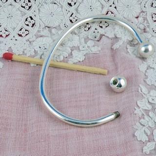 bracelet rigide argenté pour perles fabrication bijoux