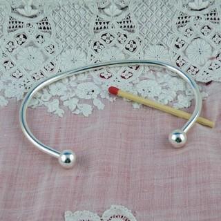 Bracelet rigide argenté vis accessoire création bijoux