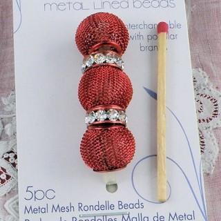 Perles métal tressé grand trou 14 mm.