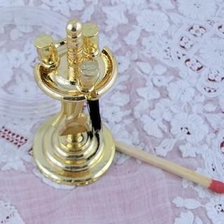 Ustensiles en laiton pour cheminée miniature maison poupée
