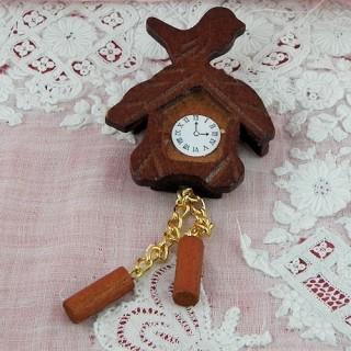 Pendule Coucou miniature maison poupée bois