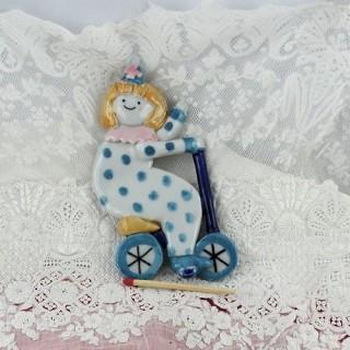 Clown céramique à accrocher décoration sapin