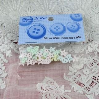 Bouton étoiles et coeur miniatures Dress it up
