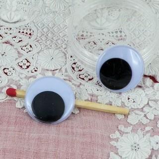 Yeux noirs mobiles à coller 20 mm