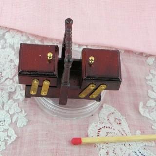 Boite à couture bois miniature maison poupée