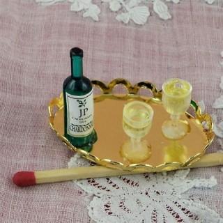 Plateau bouteille et verres miniatures maison poupée.