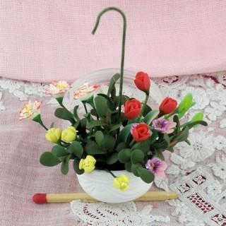 Pot miniature fleurs Plante maison poupée,