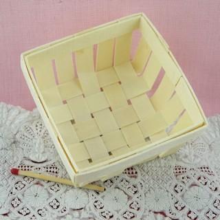 Panier en bois miniature décoration table 7 cm.