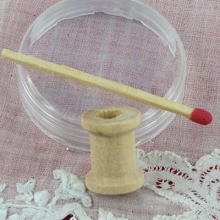 Mini Bobine en bois brut 16 mm.