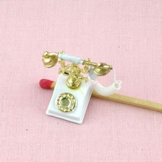 Téléphone rétro miniature maison poupée 2 cm.